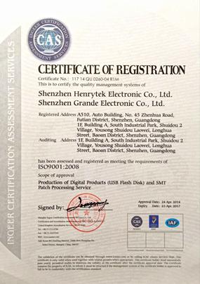 Shenzhen Grande Electronic ISO9001:2008 Certificates